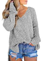 Dearlove Women's Casual Long Sleeve V Neck Knit Oversized Sweaters Loose Pullover Tops