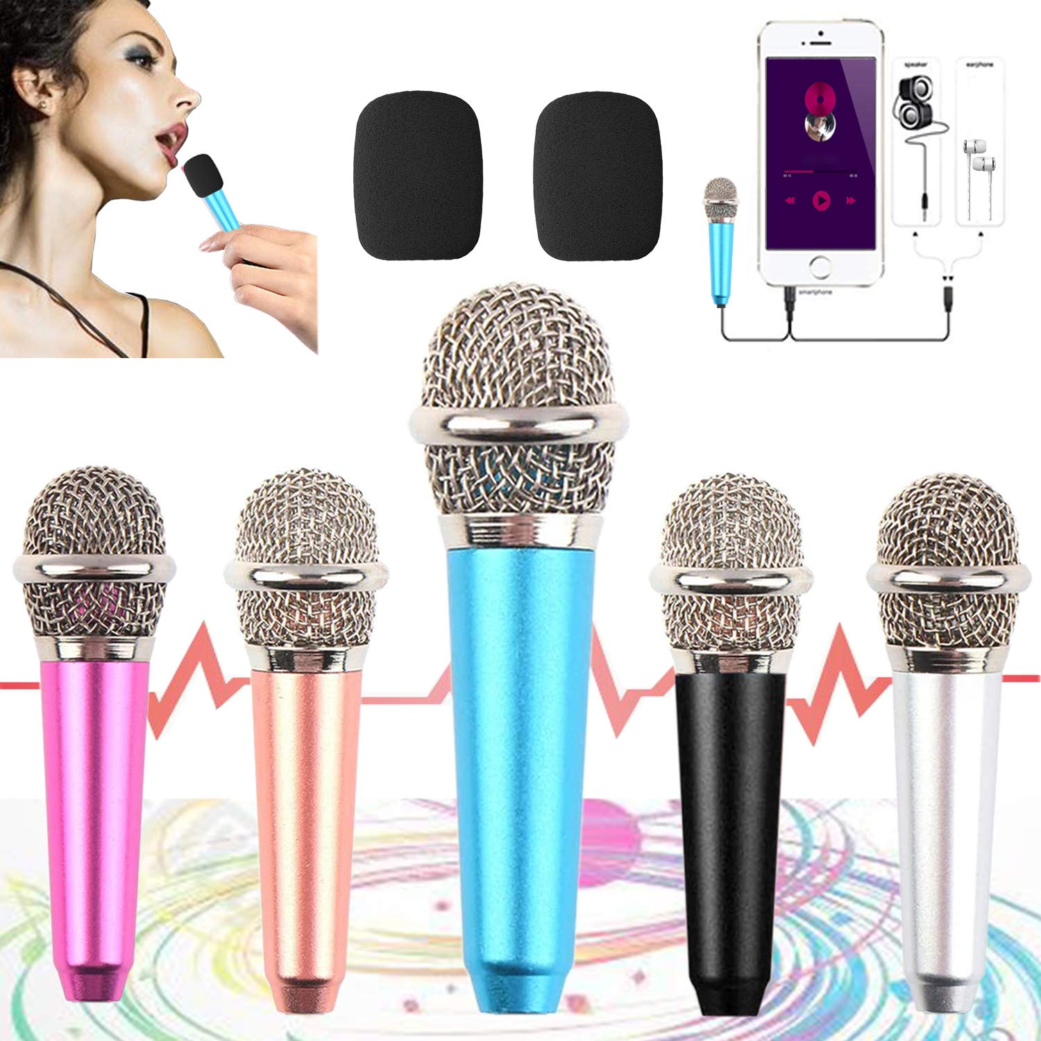 mini microphone for iphone,Tiny Microphone,Portable Microphone/mini mic,for Mobile Phone, Computer, Tablet, Recording Chat and Singing,with Mic Stand and 2PCS sponge foam cover (Blue)
