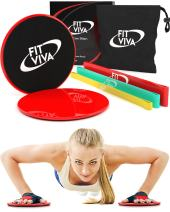 Workout Core Sliders Fitness Exercise and Resistance Loop Bands Bundle with Exercise eBook - Lightweight Workout Equipment for Home (Red + Thick Bands)