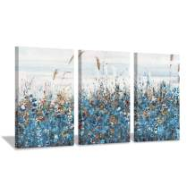 """Hardy Gallery Blue Abstract Painting Wall Art: Navy Flowers Scenery Pictures Floral Artwork Canvas Print for Living Room (16"""" x 26"""" x 3 Panels)"""