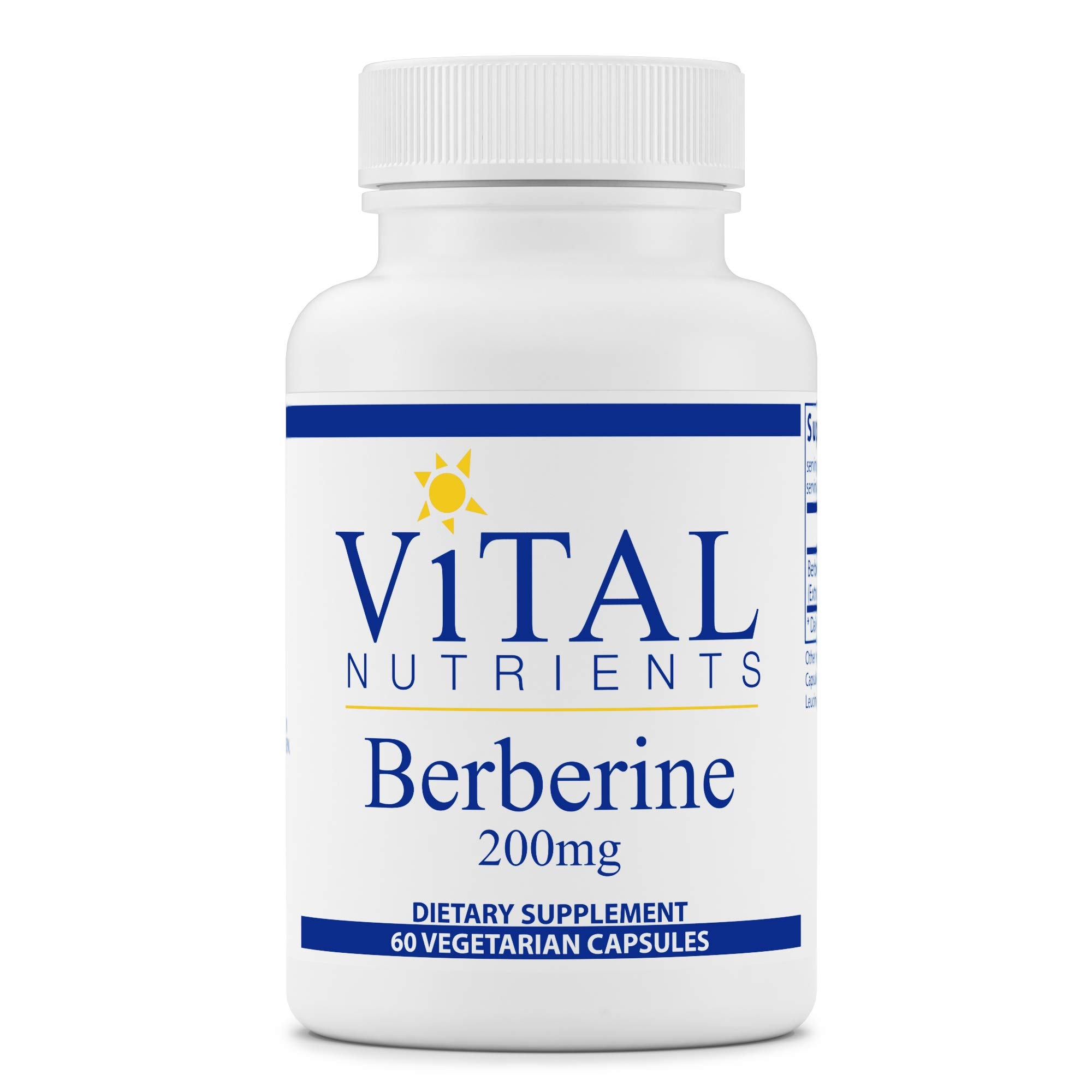 Vital Nutrients - Berberine 200 mg - Vegan Formula - Promotes Healthy Blood Sugar Levels, Regulates Bowel Function, Helps Maintain Normal Triglyceride Levels - 60 Vegetarian Capsules per Bottle