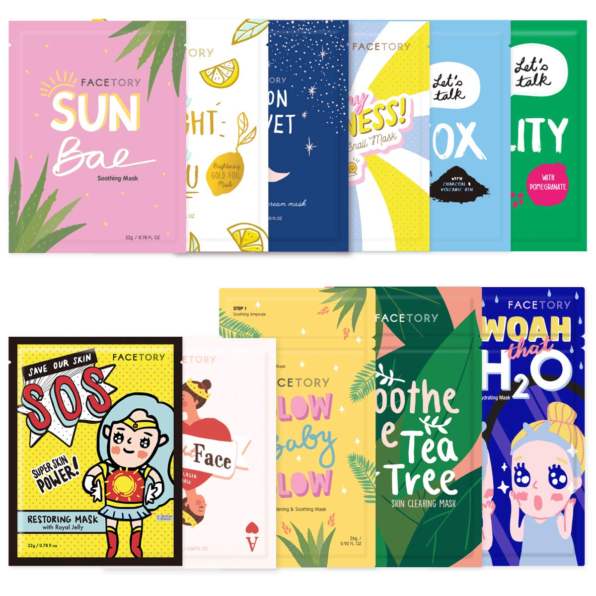 FaceTory Complete Original Collection (Pack of 11) Hydrating, Brightening, Soothing, and Moisturizing Facial Sheet Masks - For All Skin Types