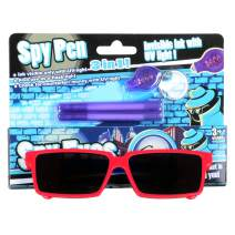 WEY&FLY Spy Pen and Spy Glasses ,Rearview Mirror Vision to See Behind You , Invisible Disappearing Ink Pen Marker Secret spy Message Writer or Kids Party Favors Ideas Gifts (Pen & Red Glasses)