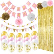 Ougold pink and gold party Birthday Decorations Baby Shower Decorations Girls Birthday Foil Fringe Curtains Photo Backdrop Paper Flowers Confetti Balloons for Girls Birthday supplies