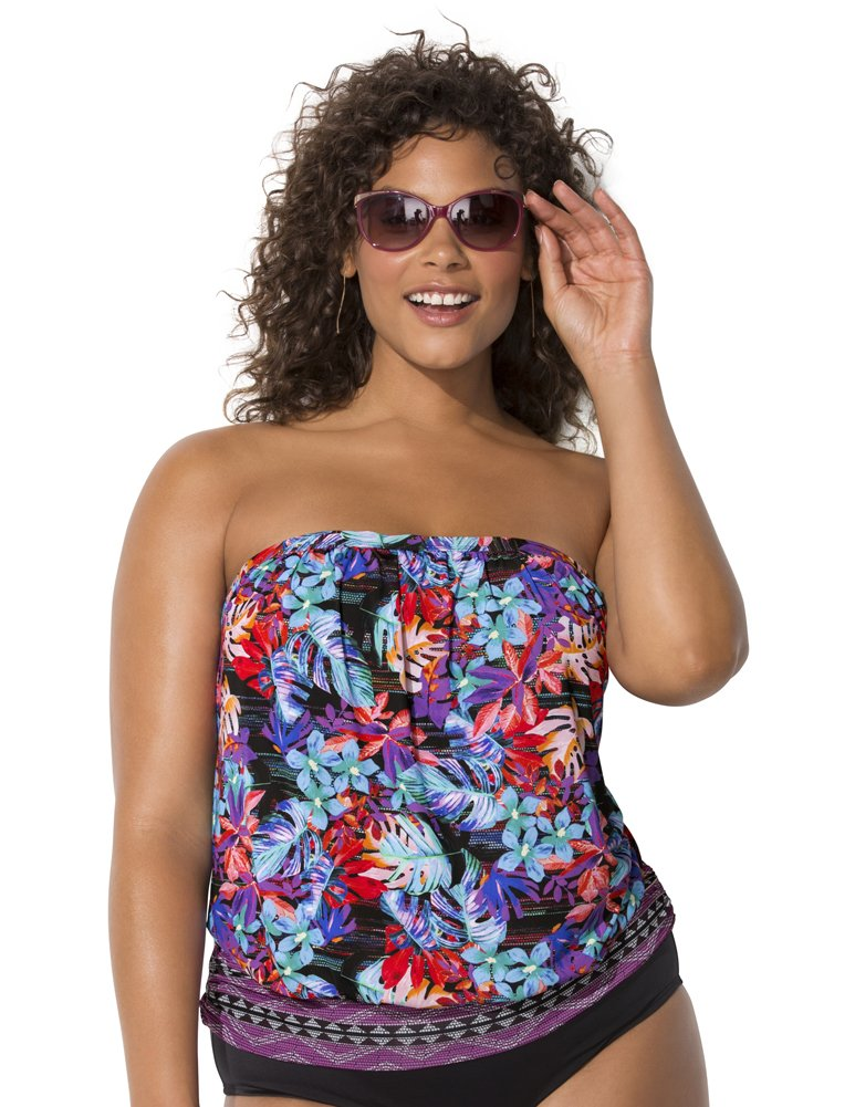 SWIMSUITSFORALL Swimsuits for All Women's Plus Size Bandeau Blouson Tankini Top