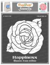 CrafTreat Rose Flower Stencils for Painting on Wood, Canvas, Paper, Fabric, Floor, Wall and Tile - Happiness Blooms from Within - 6x6 Inches - Reusable DIY Art and Craft Stencils for Home Decor