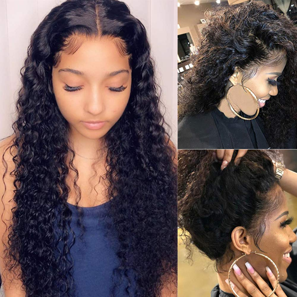 Brazlian Human Hair Wigs 16 Inch Deep Wave Lace Front Wigs 150% Density Glueless Natural Hairline Curly Wigs Wet and Wavy Lace Front Wig Human Hair with Baby Hair Lace Frontal Wigs for Black Women