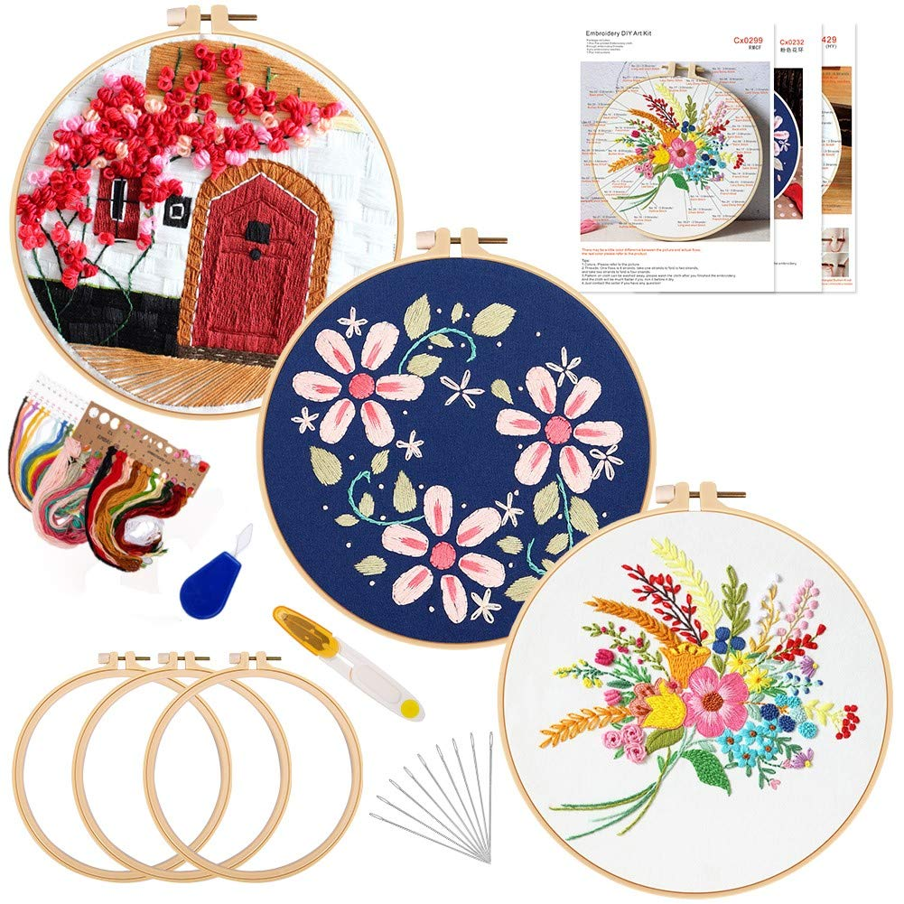 3 Sets Embroidery Kit for Beginners with Embroidery Patterns and Instructions Floral Series Cross Stitch Kits Including 3 Embroidery Hoops,Colored Threads and Other Tools