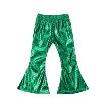 Kid Girls Shiny Mermaid Leggings,Stretch Shine Flared Pants Fashion Long Leggings Tight Pants for Mermaid Cosplay Party