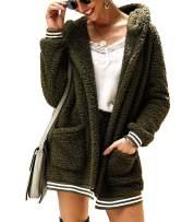 Kikibell Women's Open Front Hooded Fuzzy Fleece Outwear Jacket with Pockets Winter Coat