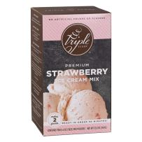 Triple Scoop Ice Cream Mix, Premium Strawberry, starter for use with home ice cream maker, no artificial colors or flavors, ready in under 30 mins, makes 2 qts (1 15oz box)