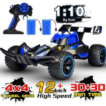 NQD RC Car, 1:10 Big Scale High Speed Remote Control Buggy, 2.4Ghz Off Road RC Trucks with Two Rechargeable Batteries, Electric Toy Car for Toy Gifts for 2, 3, 4, 5, 6, 7, 8 Year Old Boy