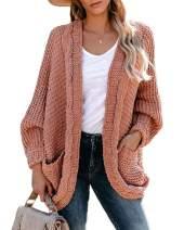 imesrun Womens Open Front Draped Cardigan Batwing Long Sleeve Knitwear Slouchy Chunky Sweater