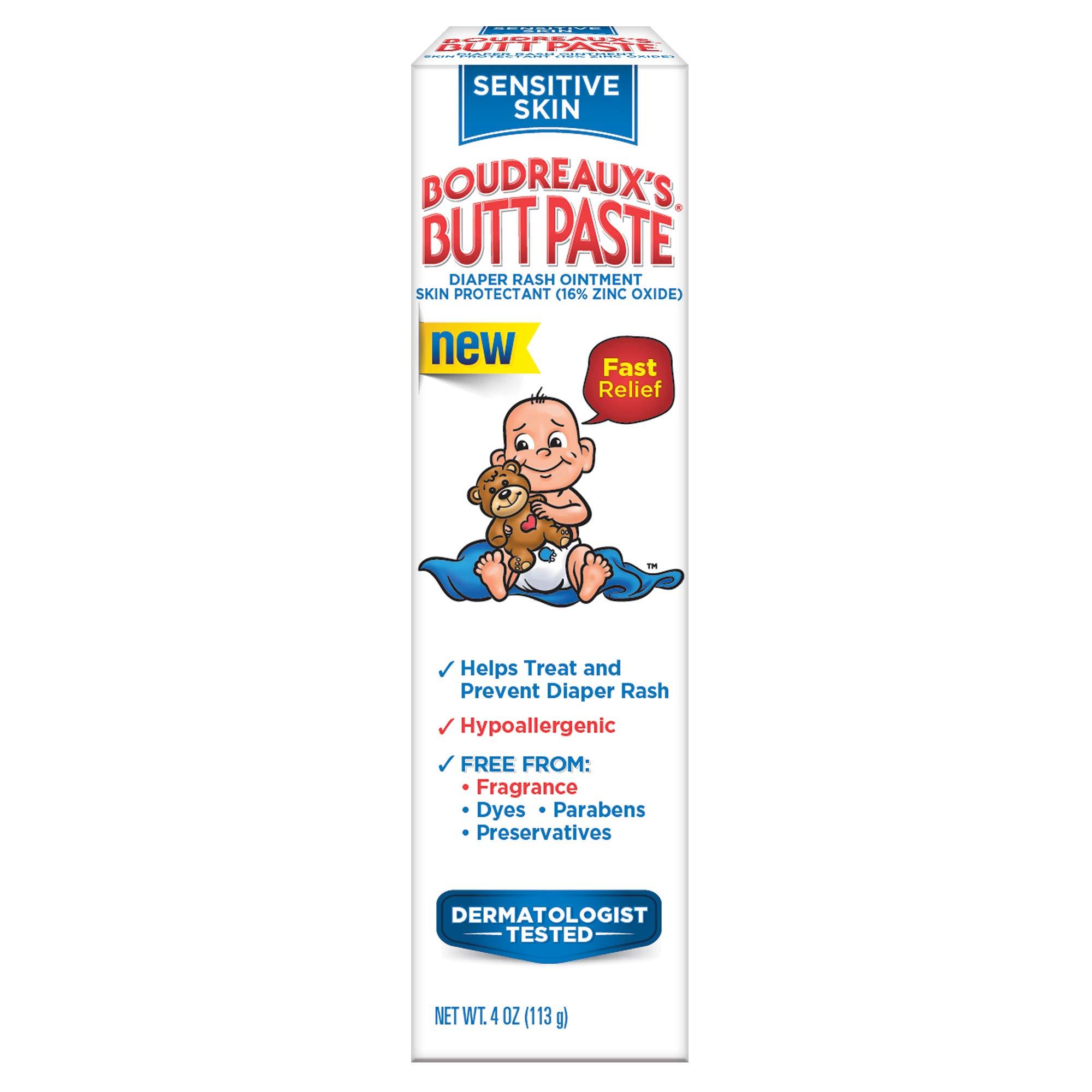 Boudreaux's Butt Paste Diaper Rash Ointment for Sensitive Skin, Hypoallergenic, 4 Oz