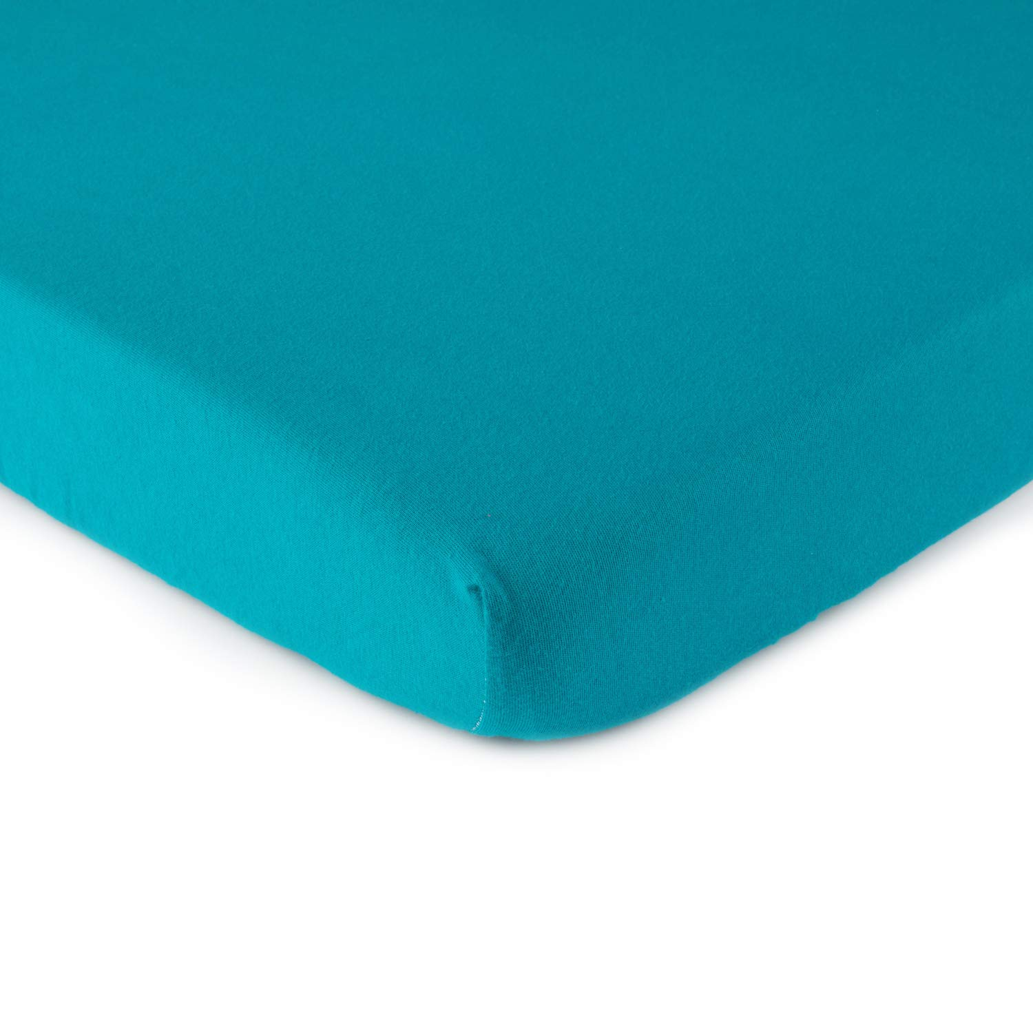 SheetWorld Fitted Bassinet Sheet - Teal Jersey Knit - Made In USA