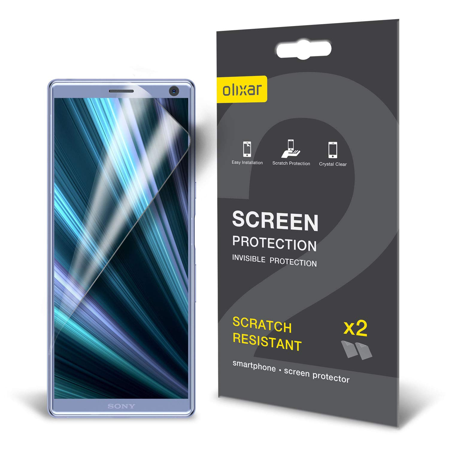 Olixar for Sony Xperia 10 Screen Protector - Film Protection - Case Friendly - Easy Application Card and Cleaning Cloth Included - 2 Pack