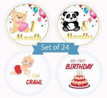 Baby Milestone Monthly Stickers Animals Designs by Serene Selection, 24 Premium Stickers, 12 Months, Holidays and Achievements, Baby Shower Gift