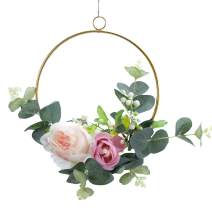 Spring Summer Wreaths for Front Door Sunflower Wreath Tulip Wreath World Bee Day Wreath Mother's Day Wreath Wreaths for Front Door Outside Year Round Rose Wreath for Home Decoration (009#)