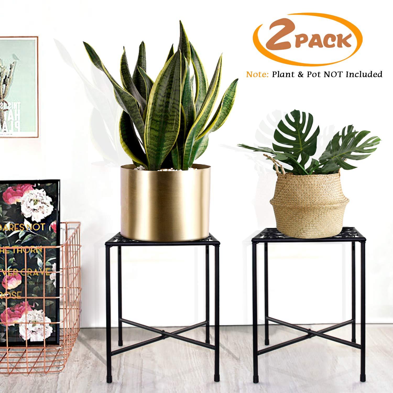 Metal Plant Stand, KABB Iron Art Flower Pot Holder, Modern Metal Display Potted Rack,Rustproof Flower Pot Stand   Decorative Plant Holder for Home, Garden, Patio, Plant Lovers, Housewarming (2 Pack)