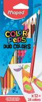 Maped Color'Peps Triangular Duo Tip Colored Pencils, Assorted Colors, Pack of 12 (829600ZV)