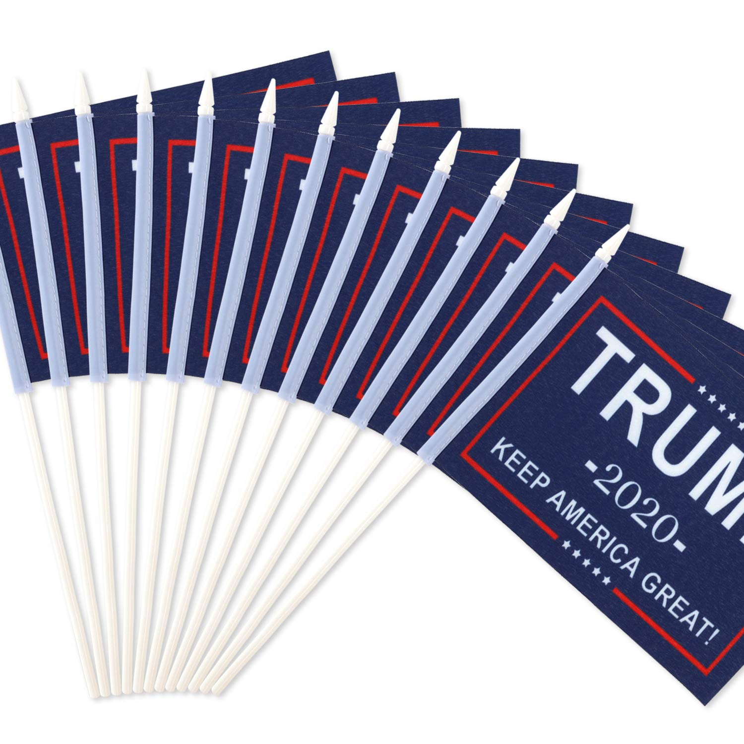 """Anley Donald Trump President 2020 Keep America Great Miniature Flag, 5x8 inches Handheld Stick Flag with 12"""" White Solid Pole - Vivid Color and Fade Resistant - Mini Flags with Spear Top (1 Dozen)"""