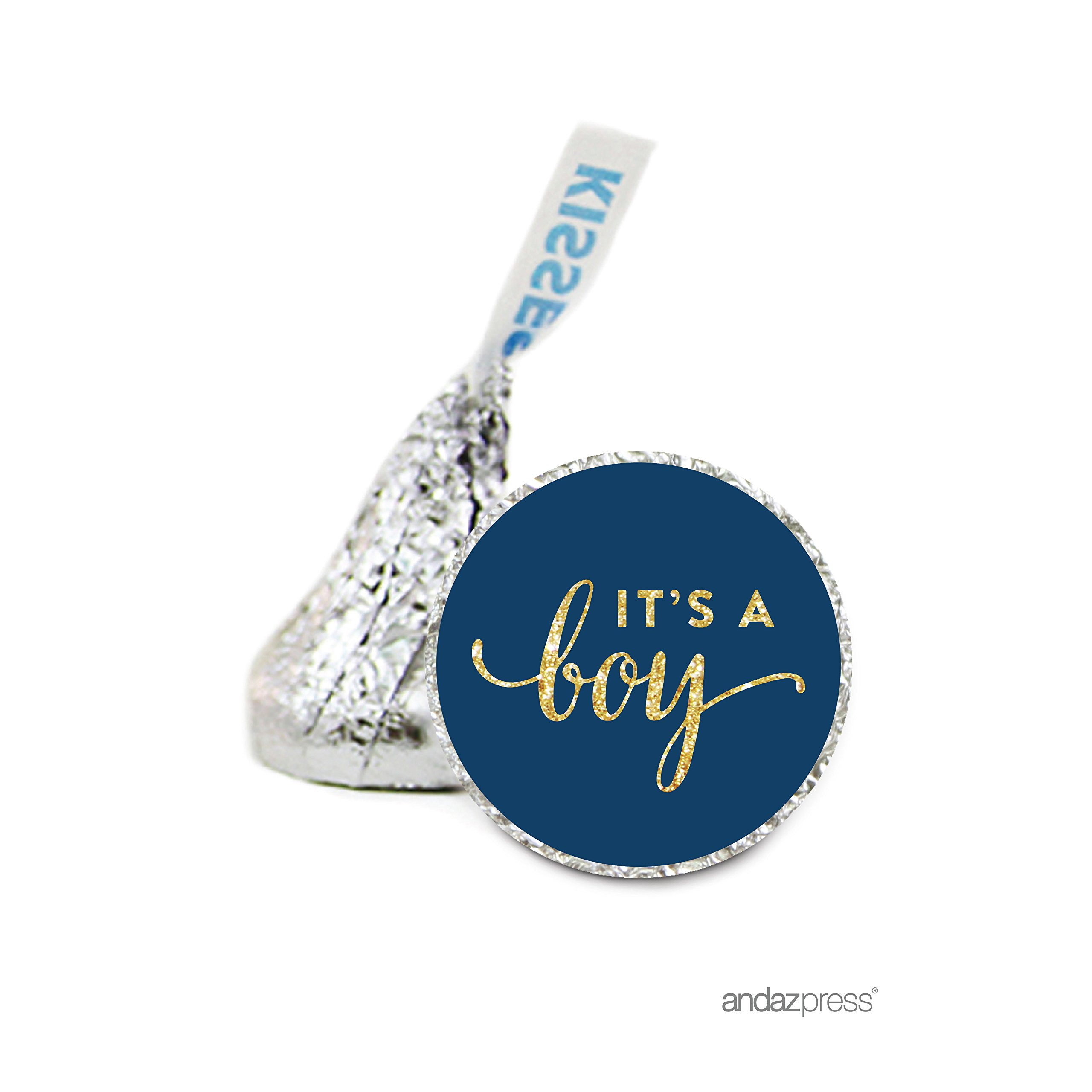 Andaz Press Chocolate Drop Labels Stickers Single, Baby Shower, It's a Boy Navy Blue and Gold Glitter, 216-Pack, For Hershey's Kisses Party Favors, Gifts, Decorations