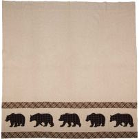 VHCBS Rustic & Lodge Bath Tan Curtain, Shower, Wyatt Bear