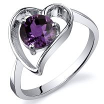 Simulated Alexandrite Heart Ring Sterling Silver Sizes 5 to 9