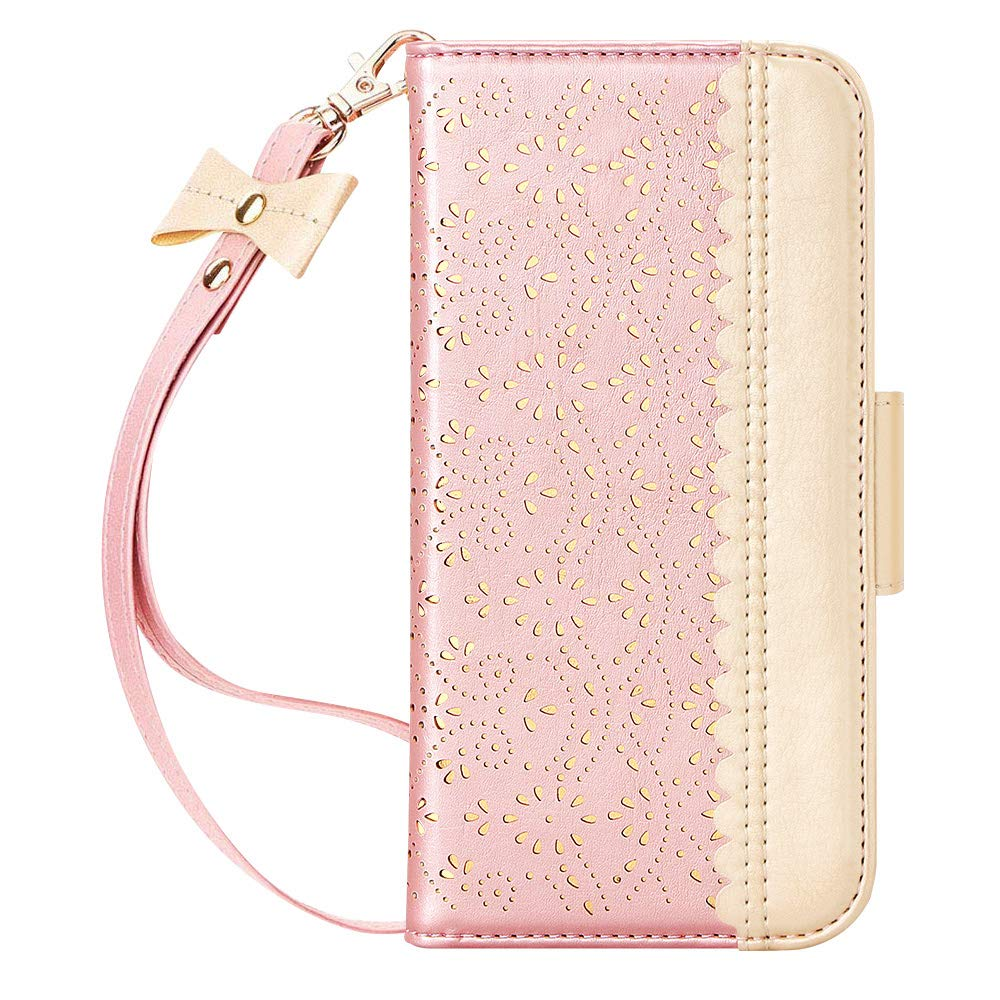 """WWW iPhone 11 Pro Case,iPhone 11 Pro Wallet Case,[Luxurious Romantic Carved Flower] Leather Wallet Case with [Inside Makeup Mirror] [Kickstand Feature] for iPhone 11 Pro 5.8"""" 2019 Rose Gold"""