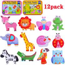 Toddler Puzzles Kids Shapes Jigsaw Puzzle 3+ Years Old, Animals Insects Colorful Patterns Sorting Games Kindergarten Preschool Montessori Educational Toys for Children Boys Girls 12 Pack