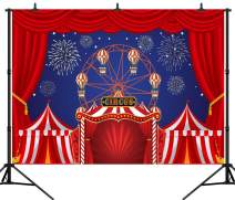 DePhoto 7X5FT Carnival Circus Party Banner Red Curtain Stratus Playground Fun Fair Baby Shower Seamless Vinyl Photography Backdrop Photo Background Studio PGT377A