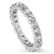 BERRICLE Rhodium Plated Sterling Silver Cubic Zirconia CZ Anniversary Wedding Eternity Band Ring