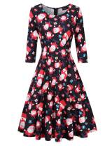 GloryStar Women's 3/4 Sleeve Christmas Dresses Vintage Cocktail Fit Flare A line Swing Dress Xmas Gifts