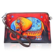APHISON Designer Women's Leather Zipper Wristlet Wallets Cowhide Painting Card Clutch Holder Purse