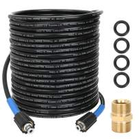 STYDDI 1/4-Inch 50 FT Pressure Washer Extension Hose with Hose Coupler, 4000 PSI Double M22-15mm Brass Thread for Sun Joe SPX Series, AR Blue Clean, Stanley and Others with M22 15mm Connections