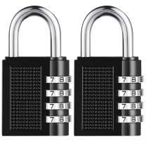 SALEM MASTER 4 Digit Outdoor Combination Locks 1.25 Inch Combination Gate Locks, Padlock for Gym Locker, Hasp Cabinet, Fence, Toolbox (Black 2-Pack)