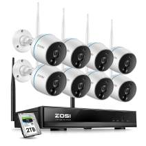 ZOSI 1080p Security Camera System Wireless for Home, 8CH NVR and (8) 1080p Weatherproof IP Camera Outdoor Indoor, Auto Match, Two-Way Audio, PIR Motion Detection, Remote Access(2TB HDD Included)