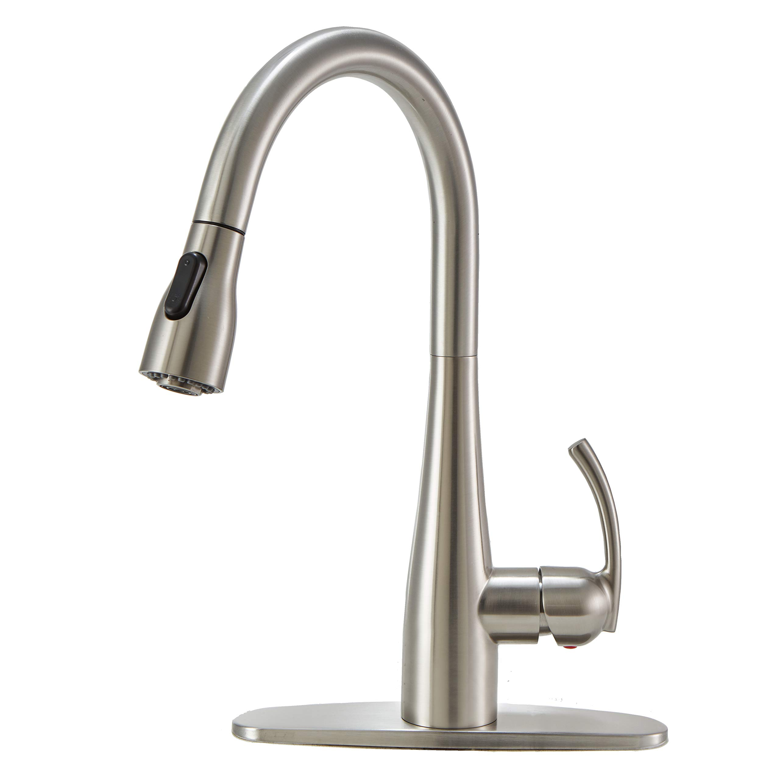 VCCUCINE Commercial High Arch 360 Swivel Single Handle Dual Function Pull Out Brushed Nickel Kitchen Faucet, Stainless Steel Kitchen Sink Faucets with Pull down Sprayer