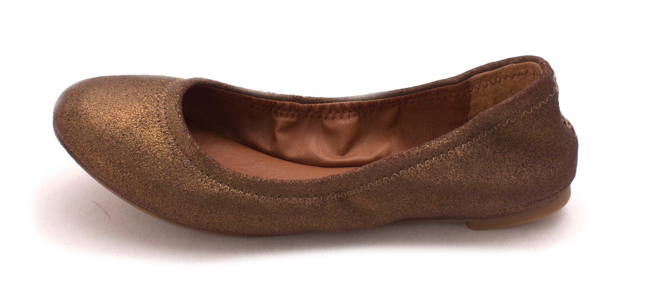 Lucky Brand Women's Bronze Powder Emmie Leather Ballet Flat Shoes
