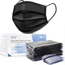 YLY 60 Pack Individually Packaged Black Disposable Face Mask 3 Layers Safety Masks With Elastic Ear Loop Comfortable for Blocking Dust Air Pollution Protection,pack of 60,black