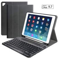 """iPad Keyboard Case for New 2018 2017 iPad Pro 9.7 iPad Air 1, 2 - Eoso Detachable Quiet Slim Leather Folio Cover Built-in Pencil Holder (9.7"""", Black)"""