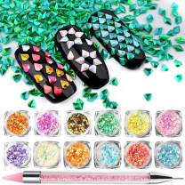 Mermaid Nail Sequins, Over 5000 pcs 3D Diamond shape Sparkle Charms Glitter with Bonus Silicon Dipping Pen - Super Value Set, Iridescent Artificial Holo Flakes, For Nail Face Eye Slime 12 colors
