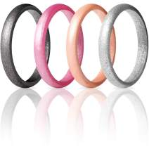 ThunderFit Women's Thin and Stackable - 7 Rings / 4 Rings - Silicone Rings Wedding Bands 2.5mm Width - 2mm Thick
