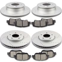 SCITOO 4pcs Discs Rotors and 8pcs Ceramic Brake Pads Fit for 2009-2015 Hyundai Sonata, 2011-2016 Kia Optima