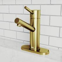 VIGO Single Hole Bathroom Faucet With Single Handle Eco-Friendly Faucets In Matte Brushed Gold Finish For Modern Lavatory Vanity Bathroom Sink, Deck Mount Installation, Deck Plate Included