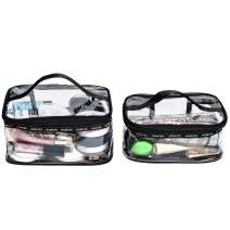 HDWISS TSA Approved Toiletry Bag with Zipper Travel Luggage Bag Carry On Clear Airport Compliant Bag Travel Cosmetic Makeup Bags