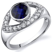 Created Sapphire Ring Sterling Silver Rhodium Nickel Finish Curved Design Sizes 5 to 9