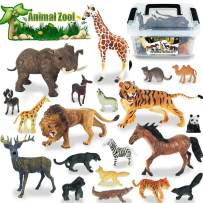 Toy Animals Play Set Mini Animal Figures Jungle Wildlife Animals Toys Set Learning Educational Toy Cake Toppers Animal for Kids Boys Girls Gift.