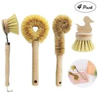 4Pcs kitchen cleaning brush, Kitchen Scrub Brush with handle for Natural Cleaning Brushes/bottles/vegetables/pots/pans, made of biodegradable coconut fiber and bamboo Coconut Fibers Bristles