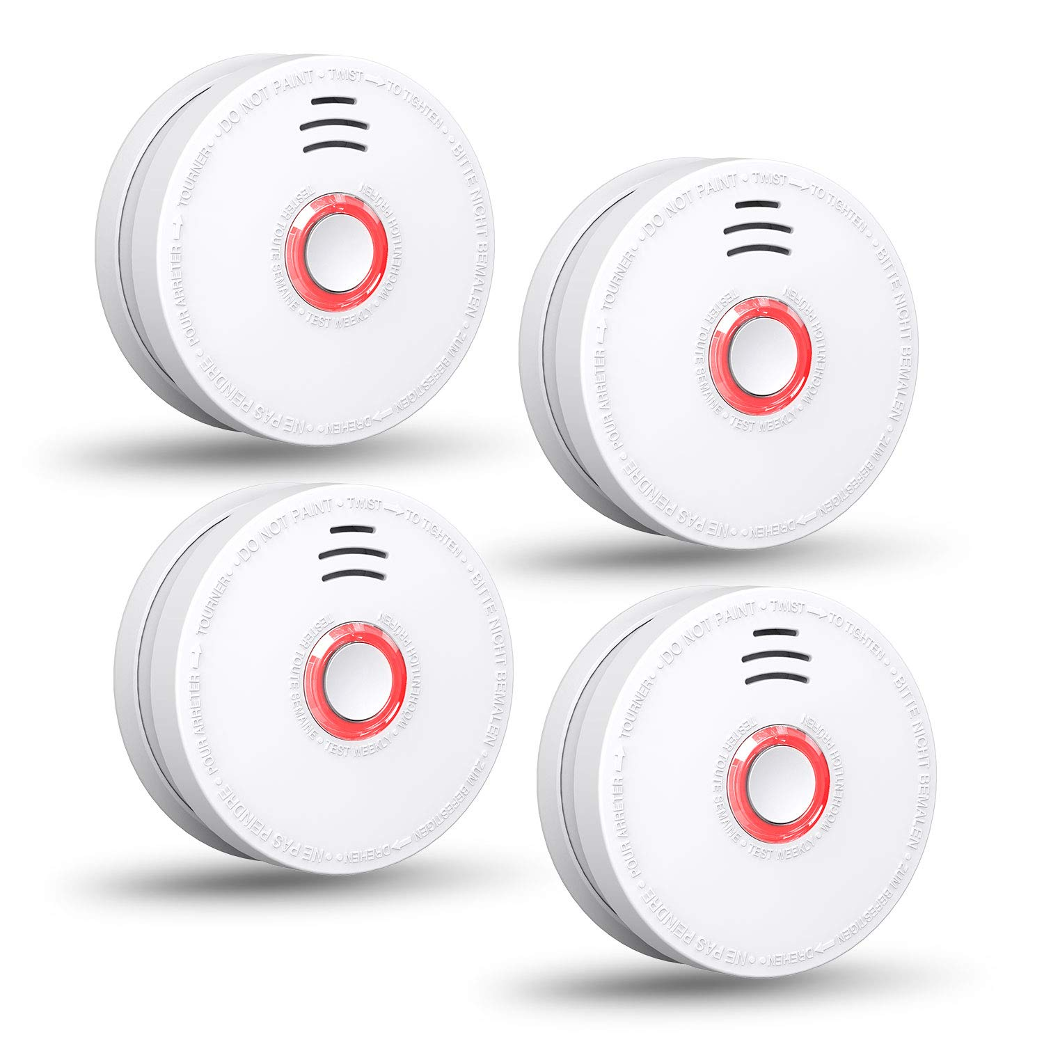 SITERWELL Smoke Detector - Replacable 9V Battery Operated Smoke Alarm with Photoelectric Sensor, 10-Year Life Time Fire Alarm with UL Listed, Fire Safety for Kitchen,Home,Hotel, GS528A, 4 Packs
